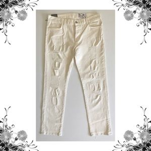 {SIWY} Cream Destroyed Cropped Jeans